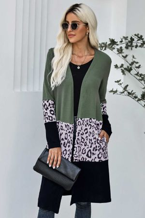 Green Leopard Splicing Colorblock Cardigan